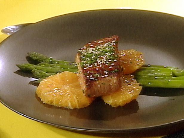 Grilled Mahi Mahi Fillets and Asparagus with Orange and Sesame