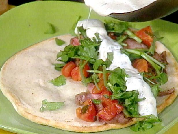 Lamb Pitas with Tomato, Scallions and Mint Yogurt Dressing