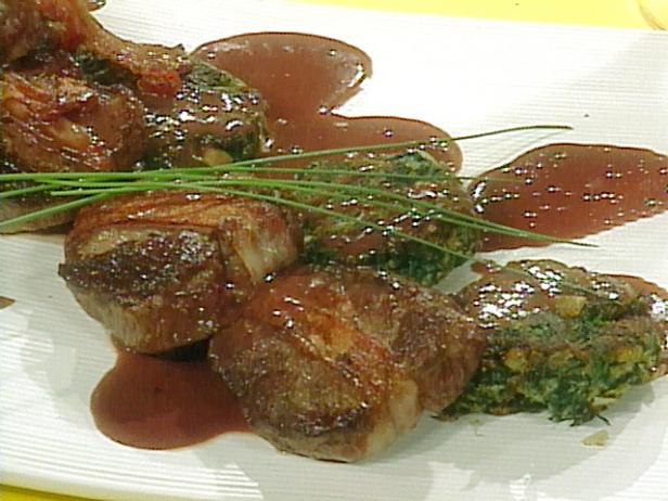 Bacon Wrapped Beef Tenderloin Steaks with Spinach and Cheese Cakes