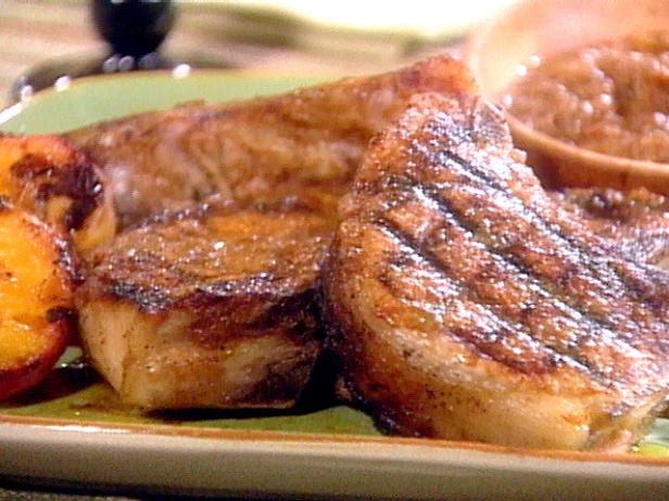 Grilled Giant Pork Chops with Sweet Peach Barbecue Sauce