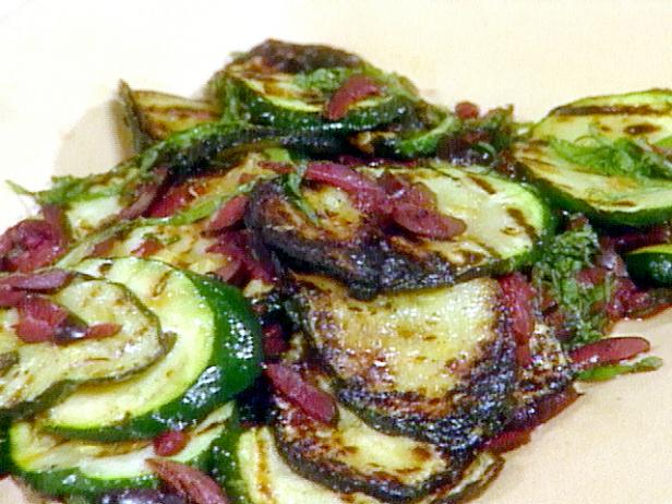 Grilled Zucchini with Black Olives and Mint