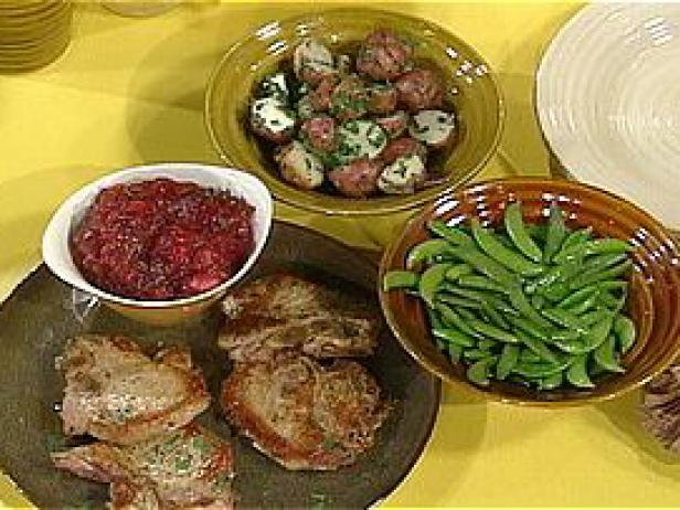 Pork Chops with Cran-Apple Sauce, Parsley Potatoes and Sugar Snap Peas