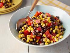 For a light lunch, try Rachael Ray's Black Bean and Corn Salad recipe from 30 Minute Meals on Food Network. A touch of cumin adds savory warmth to this dish.