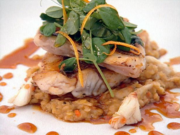Crispy Skinned Florida Yellowtail Snapper, Red Lentil and Yellow Crab Cassoulet with Sweet and Sour Tangelo Cascabel Syrup