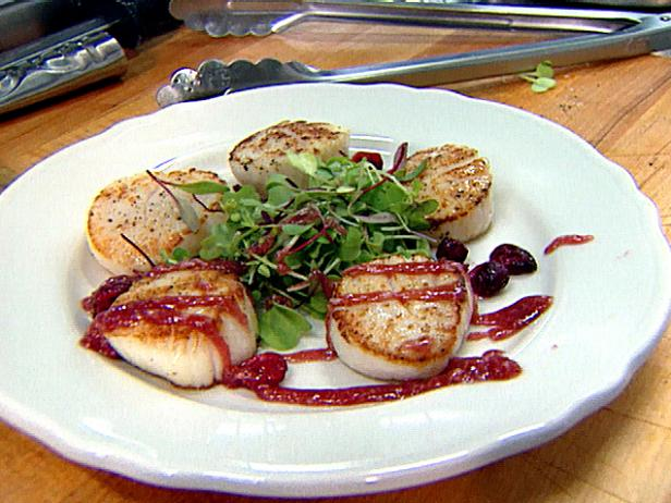 Pan Seared Day Boat Scallops over Sprout Salad with Cranberry Horseradish Dipping Sauce