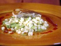 Halibut and Corn Salad with Broken Vinaigrette