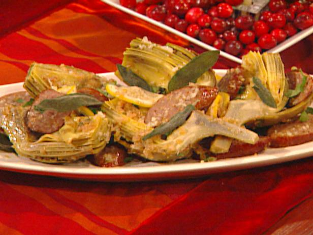 Artichokes with Pork Sausage, Lemon and Sage