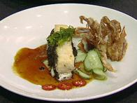 Pan Seared Wild Rockfish and Soft Shell Crab Tempura with Ginger and Yuzu Glaze, Cucumber and Toasted Nori