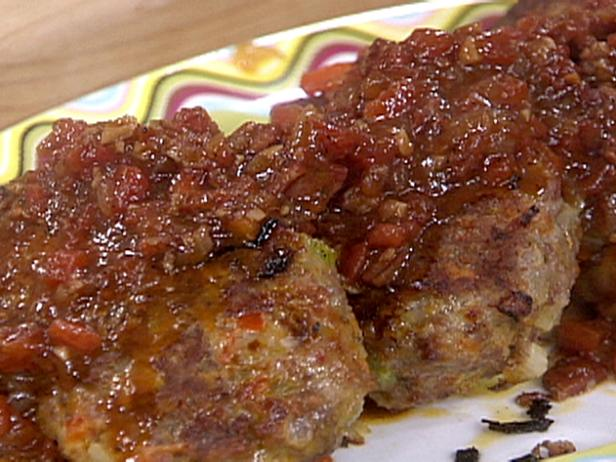 Spicy Sausage Meatloaf Patties with Italian Barbecue Sauce