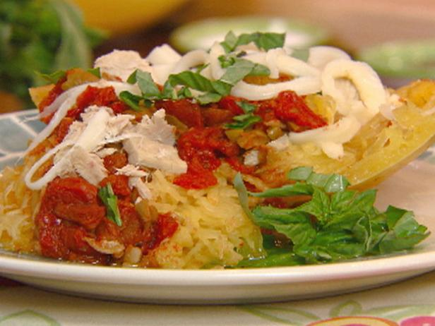 Stuffed Spaghetti Squash with Tomatoes, Olives, Tuna and String Cheese