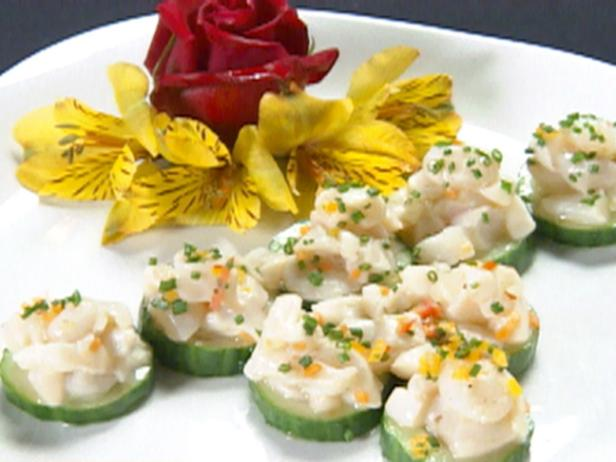 Seafood Ceviche on Cucumber Round Topped with Green Caviar