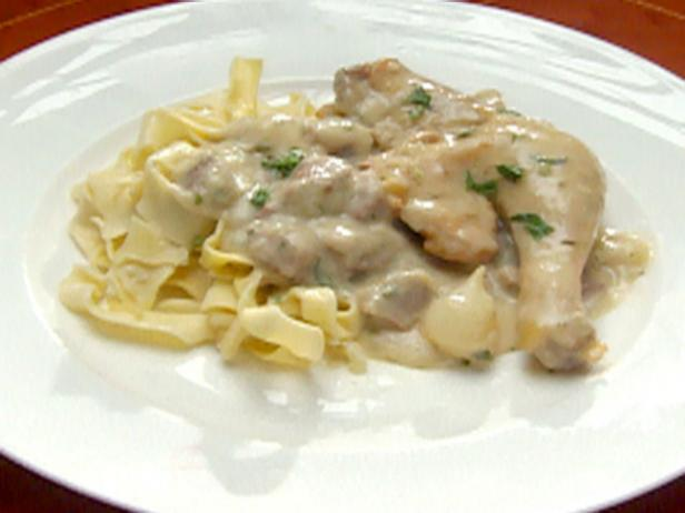 Cockerel in Riesling Mushroom Sauce with Ribbon Noodles