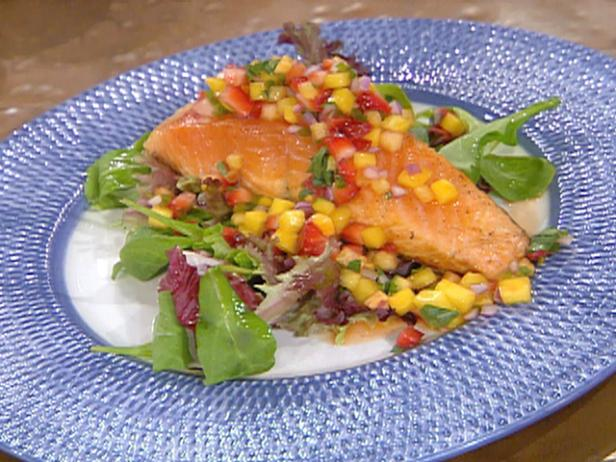 Grilled Salmon with a Pineapple, Mango and Strawberry Salsa