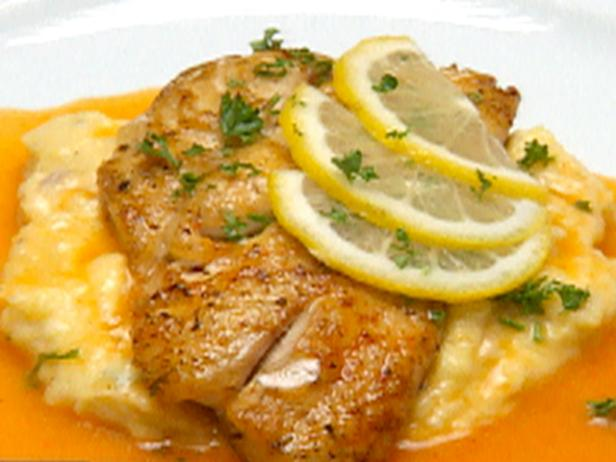 Cajun Snapper and Shrimp over Bacon Cheddar Cheese Grits with Red Pepper Coulis