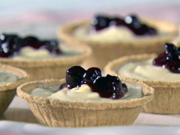 Blueberry Strawberry Compote over Lemon Tartlets