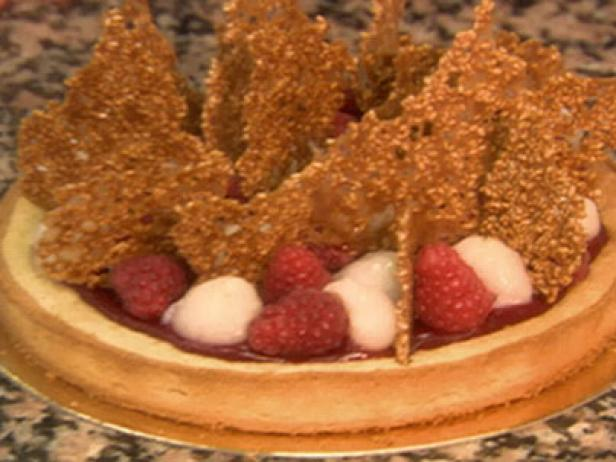 Lychee Raspberry and Nougatine Tart or Tarte Litchis Framboises Nougatine