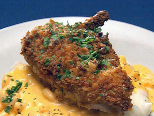 Kid Pleasin' Fried Chicken and Quince Jelly over Macaroni and Cheese and Mashed Potatoes