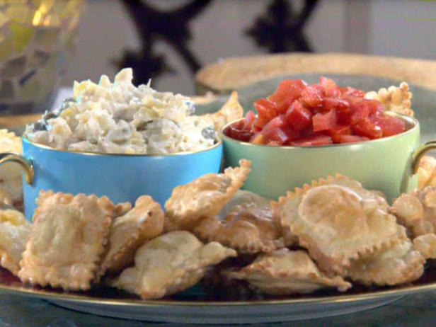 Fried Cheese Ravioli with Tomato Pepper Relish and Artichoke Caper Dip