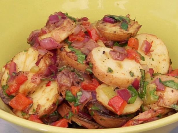 Grilled New Potato Salad with Peppers and Onions