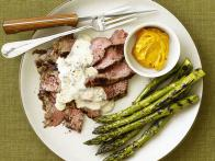 Grilled Flank Steak with Gorgonzola Cream Sauce and Asparagus