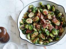 Sunny Anderson's Pan-Roasted Brussels Sprouts with Bacon recipe takes the bitter green vegetable to salty-sweet heights, and you need only four ingredients.