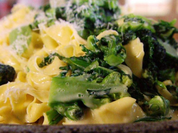 Fresh Tagliatelle with Sprouting Broccoli and Oozy Cheese Sauce