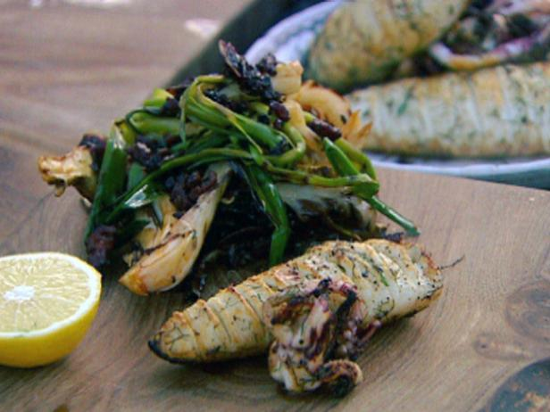 Roasted Concertina Squid with Grilled Leeks and a Warm Chorizo Dressing