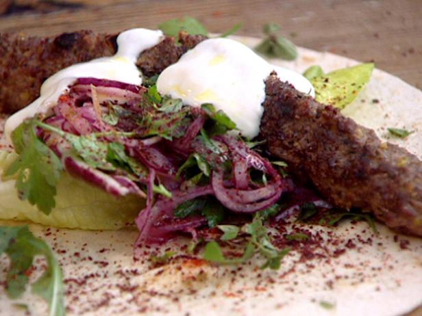 Grilled Lamb Kofta Kebabs with Pistachios and Spicy Salad Wrap