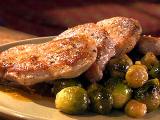 Maple-Glazed Pork Chops with Brussels Sprouts