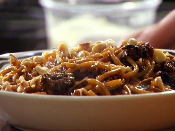 Wild Mushroom Broken Spaghetti Risotto with Arugula and Hazelnuts