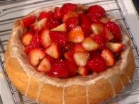 Lemon Sponge Cake with Glazed Strawberries