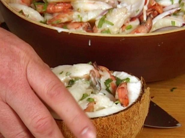 Shrimp Ceviche Served in Coconuts