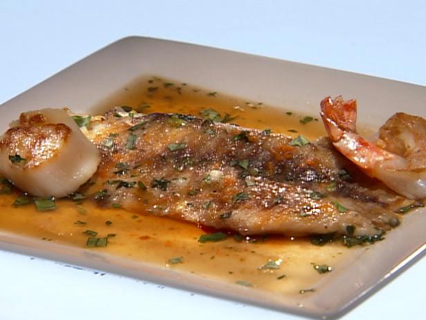 Main Challenge: Grilled Barramundi with Wasabi Sauteed Shrimp and Scallops in an Asian Broth