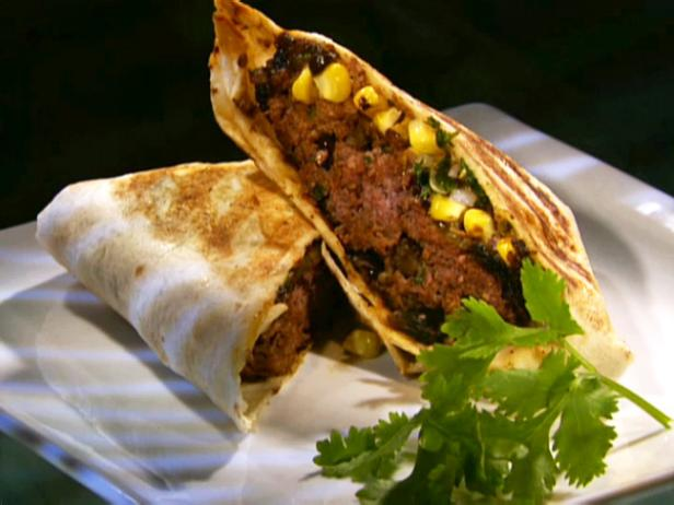 Adobo Quesadilla Burger with Grilled Corn Salsa