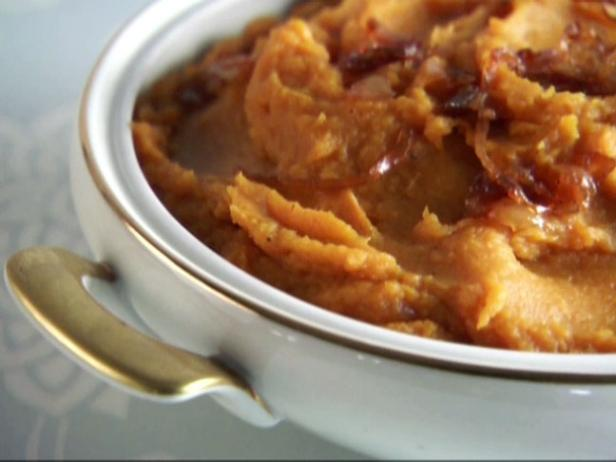 Maple Sweet Potato Puree with Caramelized Onions