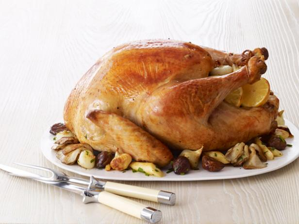 Turkey with Glazed Chestnuts, Parsnips and Mushrooms