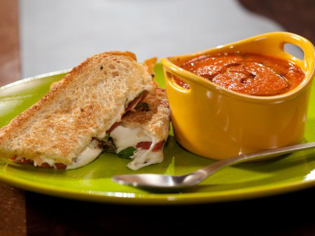 Roasted Red Pepper and Tomato Soup with Smoky Caprese Panini
