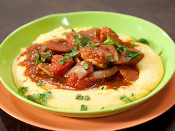 Spanish Chicken Stew with Manchego Polenta