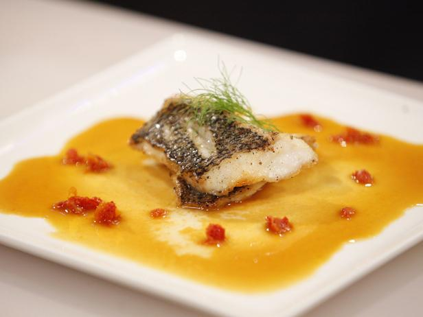 Pan-Seared Sea Bass in Tomato Fennel Broth