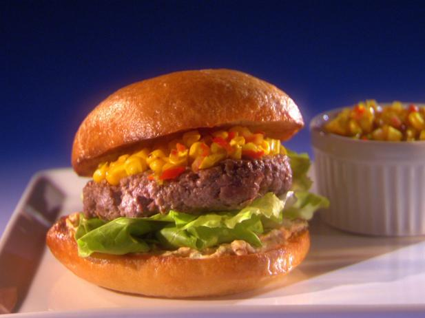 Bluegrass Burgers with Sweet Roasted Corn Chow-Chow and Country Ham Spread