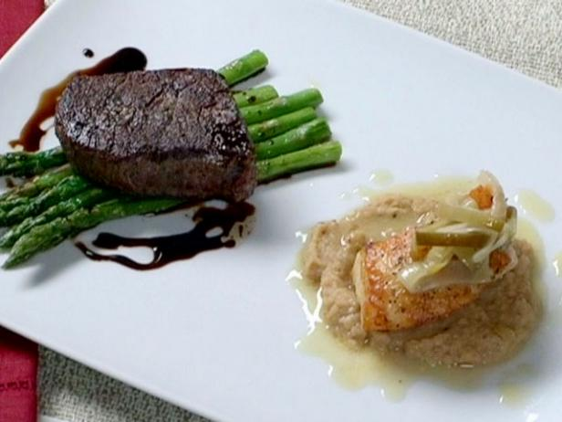 Pan Roasted Filet Mignon with Asparagus Sea Bass with Roasted Cauliflower Puree