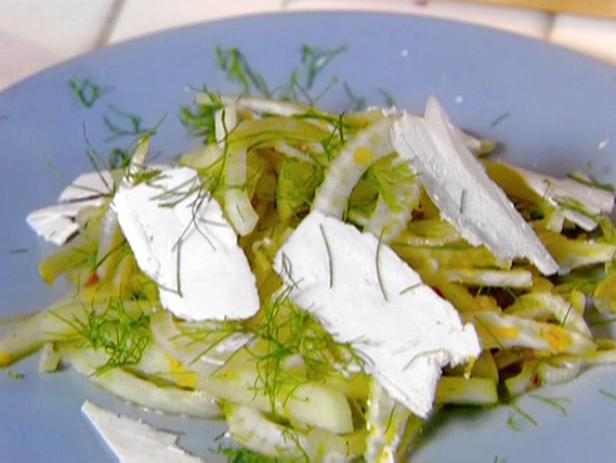 Shaved Fennel and Green Apple Salad with Orange Dressing and Ricotta Salata