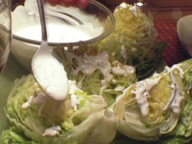 Hearts of Iceberg Lettuce with Ranch Dressing