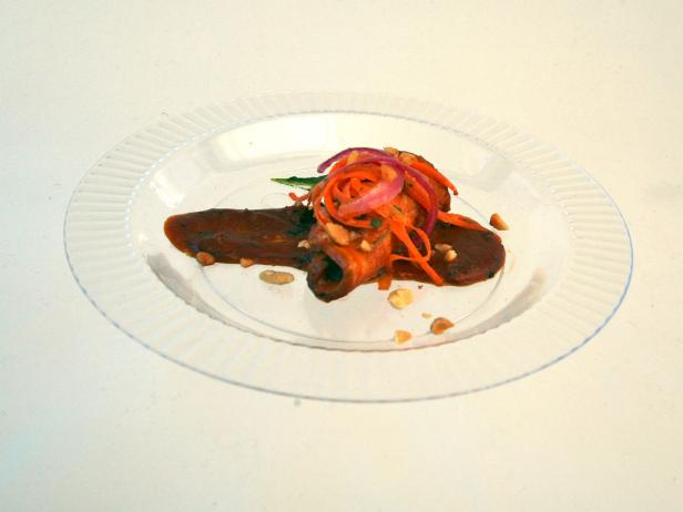 Peanut Smoked Pork Loin with Peanut Butter BBQ Sauce and Carrot and Pickled Onion Salad