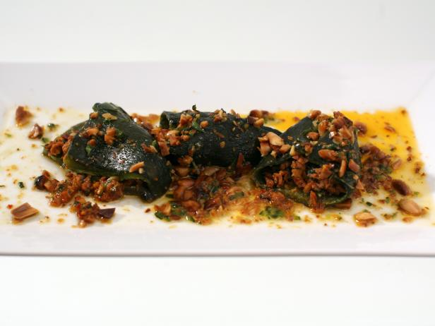 Southeast Asian-Style Stuffed Poblano Peppers with Lime Peanut Vinaigrette