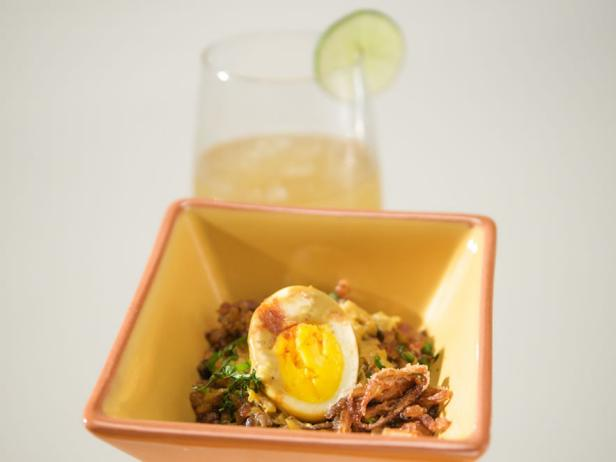 Coconut Egg Curry with Red Rice and Crispy Shallots