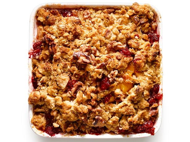 Apple-Raspberry Crumble with Oat-Walnut Topping