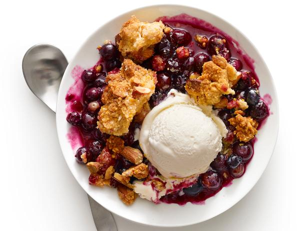 Blueberry Crumble With Cornmeal-Almond Topping