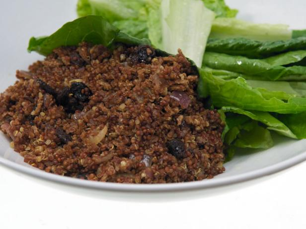 Quinoa-All Bran Pilaf with Raisins and Simple Green Salad