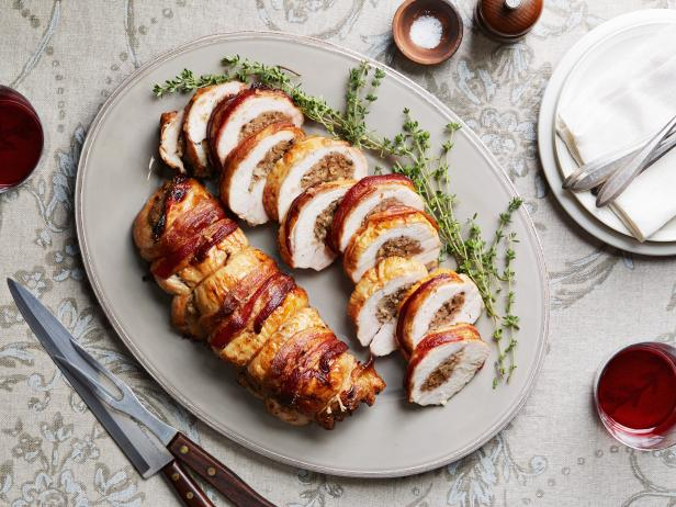 Bacon Wrapped Turkey Breast Stuffed With Pear Hash Recipe